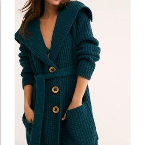 New Free People Taffy Sweater Cardigan Green